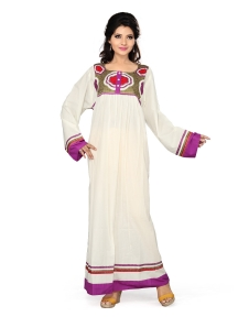 Elegant Long Sleeves Gown with border