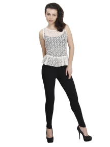 White Net top with Black Top And pant