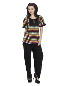 Multi Color top with Black Trouser