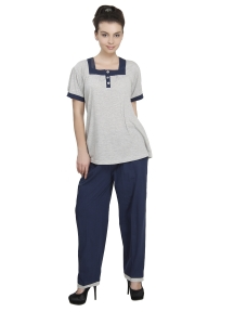 Plain Grey top with Blue Trouser